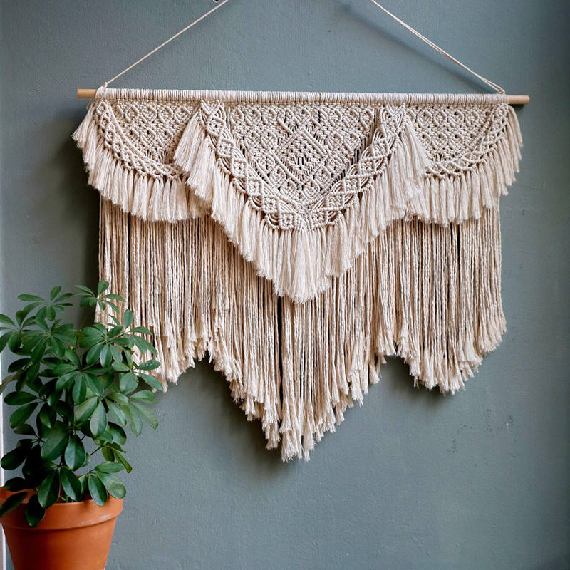 China Wholesale Home Decoration Handmade Woven Crochet Macrame Wall Hanging