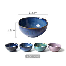 Reactive colorful fambe set 4 small rice bowls / soup ceramic bowl for gift