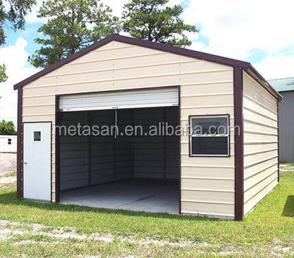 Custom prefabricated portable garage metal carport car parking shed with door