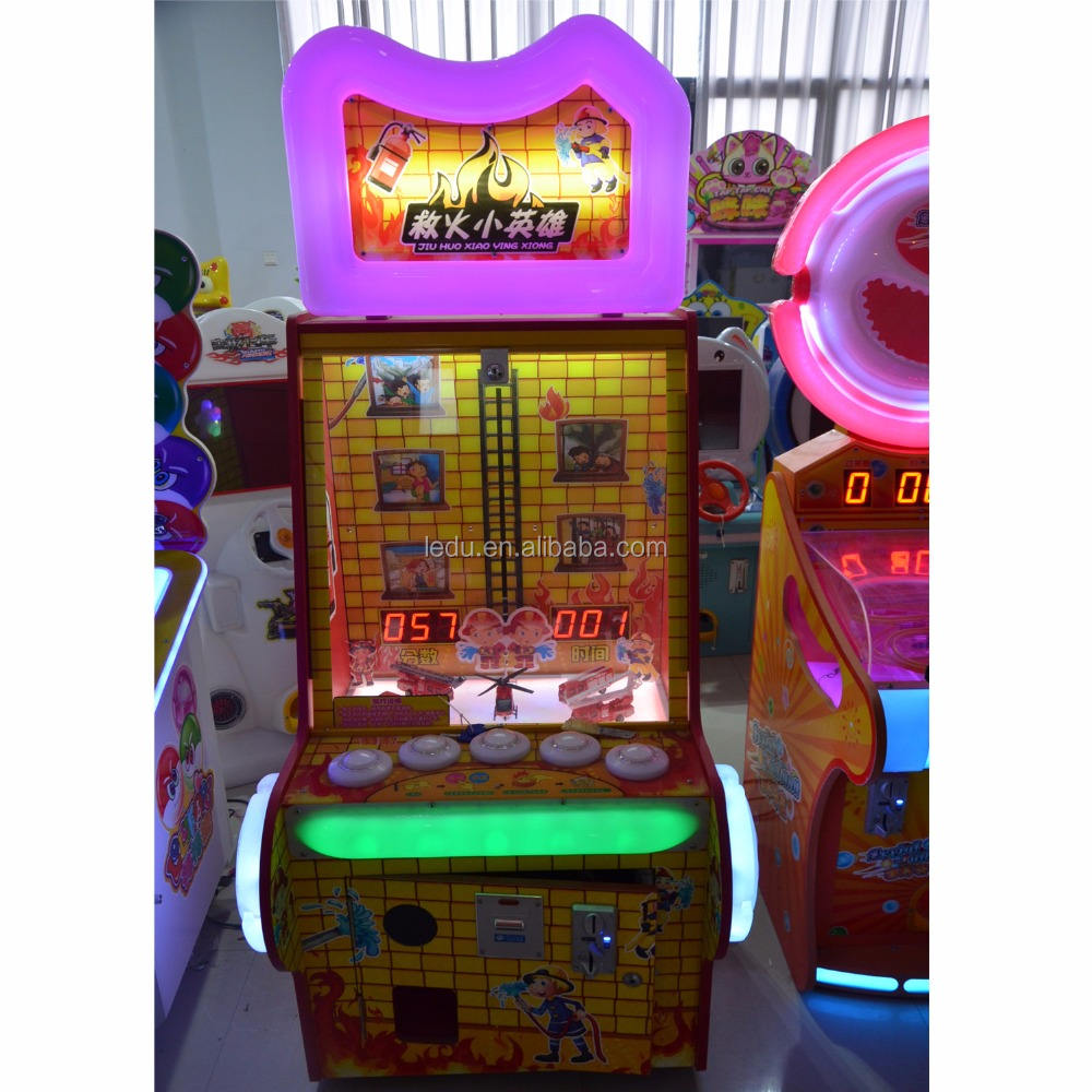 Indoor coin operated Little Fire Hero game machine small fire fighting hero hamer hit ticket redemption game
