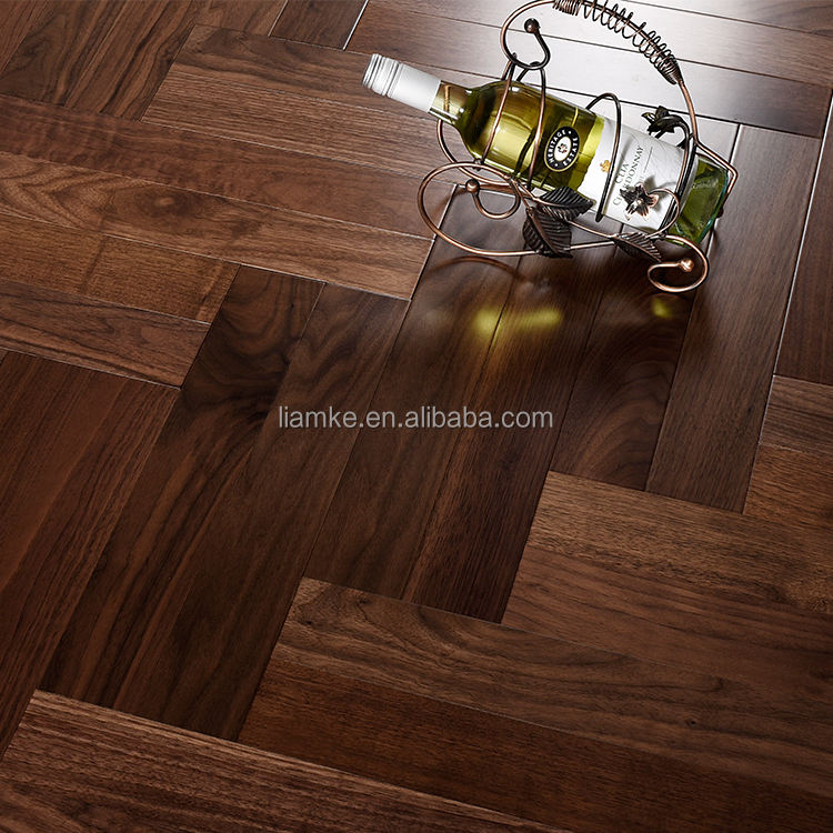 UV Lacquered Black Walnut Multi-layer Solid Wood Flooring Herringbone Fishbone Parquet