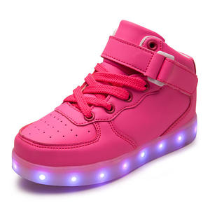 spring and autumn children shoes with light LED charging high to help girls boys shoes sports shoes