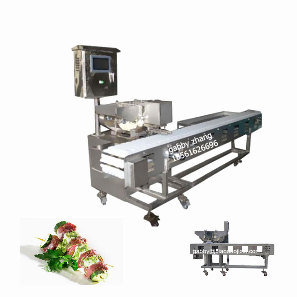 Automatische halal vlees spies machine, kebab spies machine, sate spies machine
