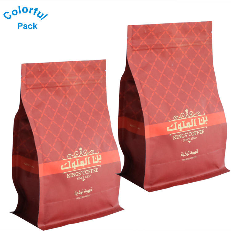 Food Grade Customized Printing Packaging Flat Bottom Side Gusset Reusable Matt Black Coffee Bags