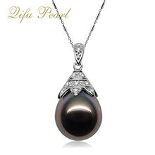 925 Sterling Silver Black Drop Shape Tahiti pearl pendant necklace jewelry mounting