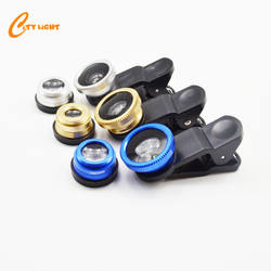 Cheap 3 in 1 mobile phone camera lens 0.67x wide angle macro fish eye for smartphone