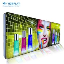 Custom double side indoor trade show floor standing portable aluminum frame fabric lightbox display advertising LED light box