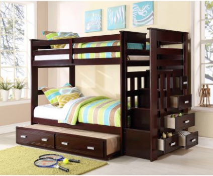 Twin brown solid wood pine bunk bed trunble bed with ladder and drawers