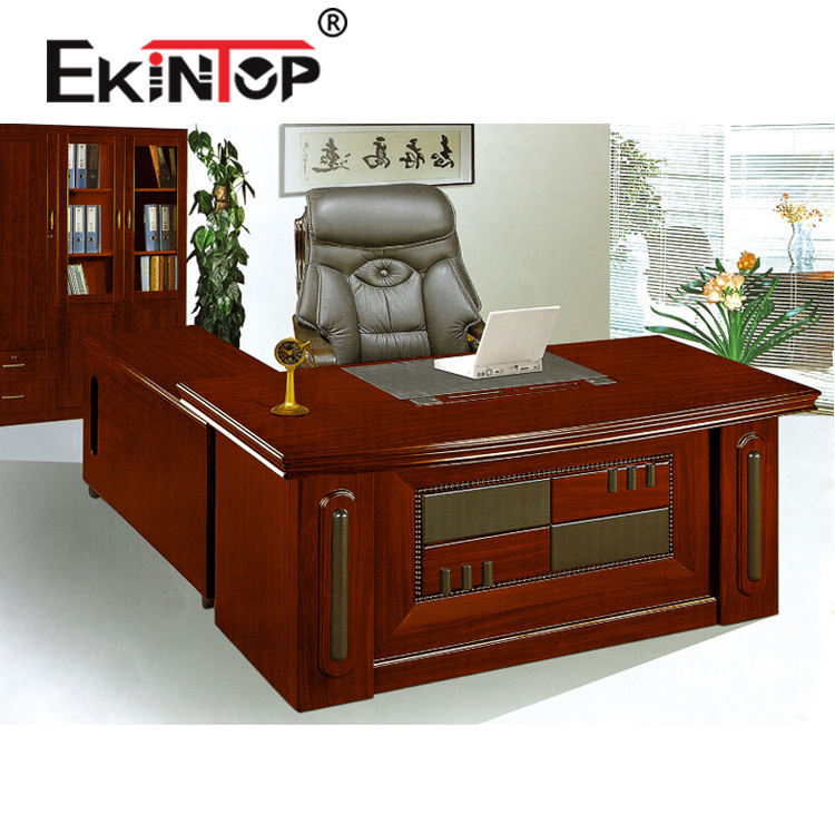 Ekintop modern luxury l shaped ceo manager executive desk wooden office table for office furniture