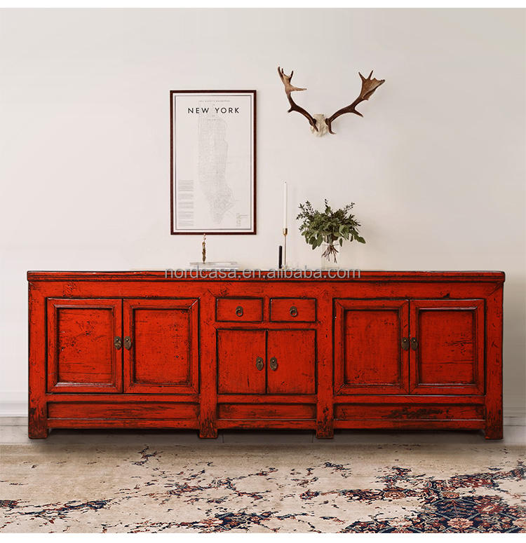 Chinese antique recycled wood red bedroom TV cabinet or living roon cabinet