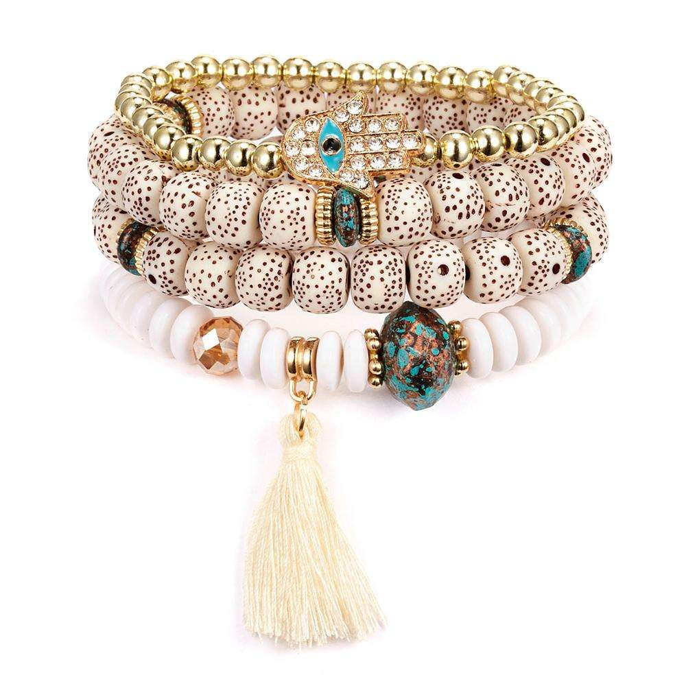Stacking Boho Native American Indian bracelet 4pcs/ set Beaded tassel bracelet jewelry for women