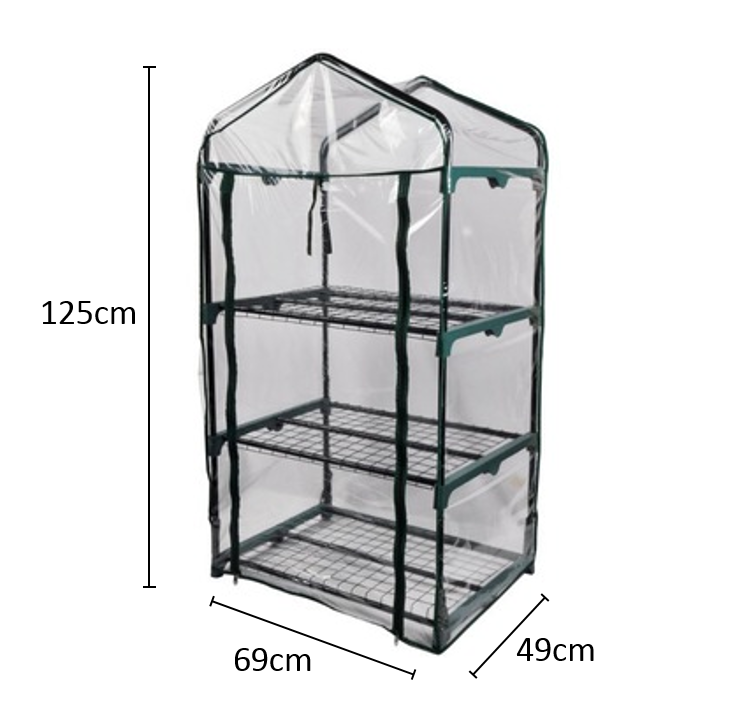 VERTAK Steel frame & PVC cover of 3-tiers mini greenhouse for garden,patio or backyard