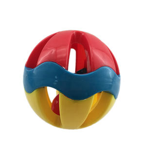 Kids happy bell toys traditional baby plastic rattle ball