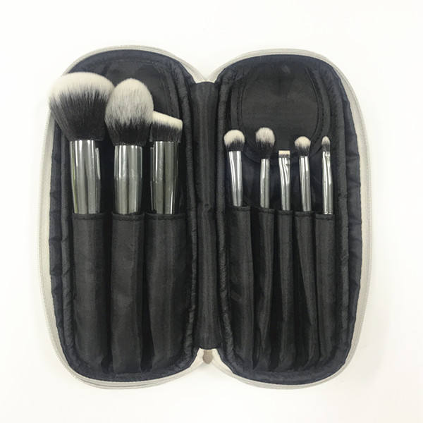 Gun Metal Kleur Make-Up Borstel Set met Pouch