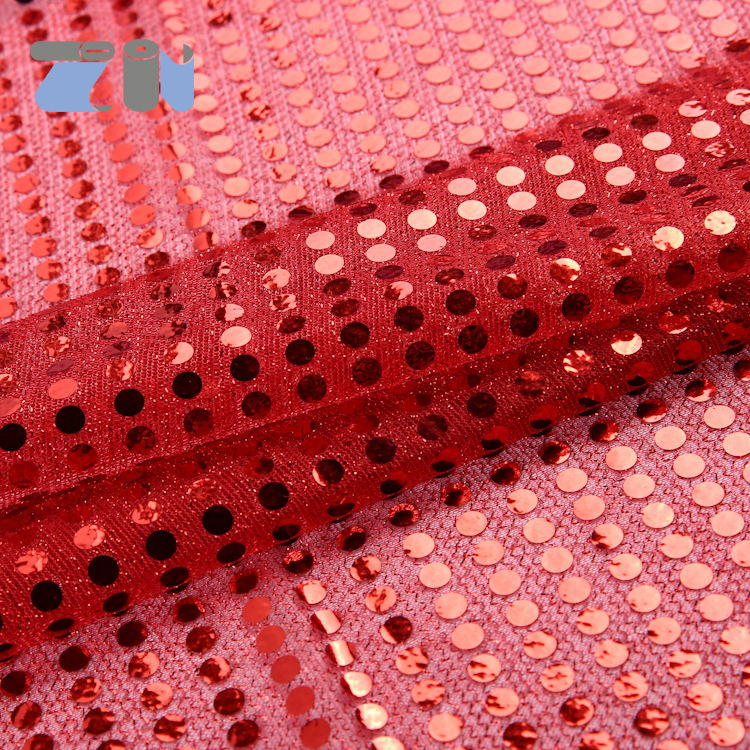 American knit with 3mm spangle polka dot mesh fabric red sequin fabric 3mm sequin fabric