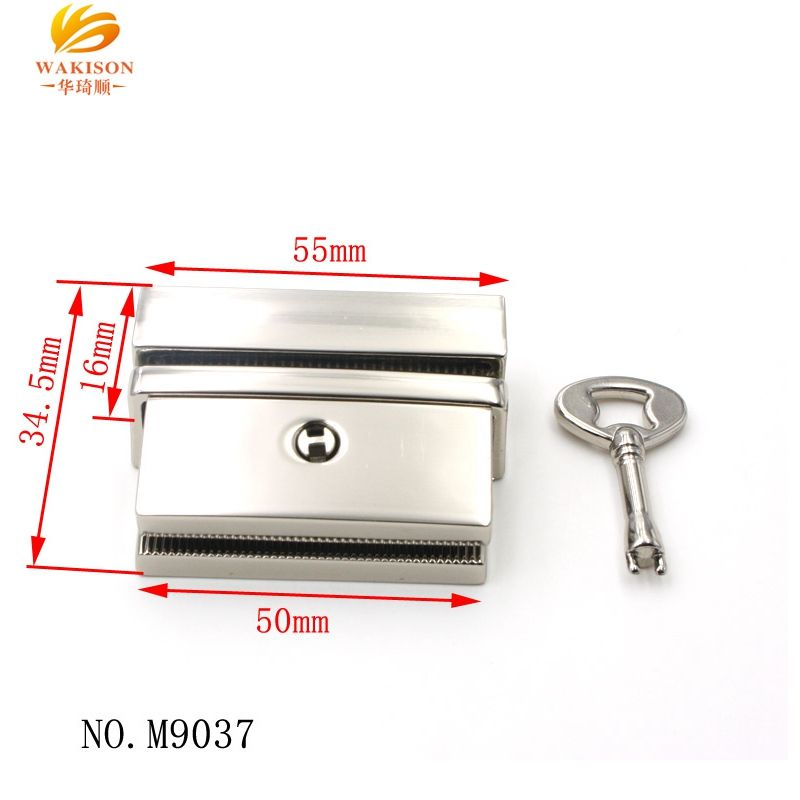 2021 new style custom brand name bag metal chrome push snap lock with key