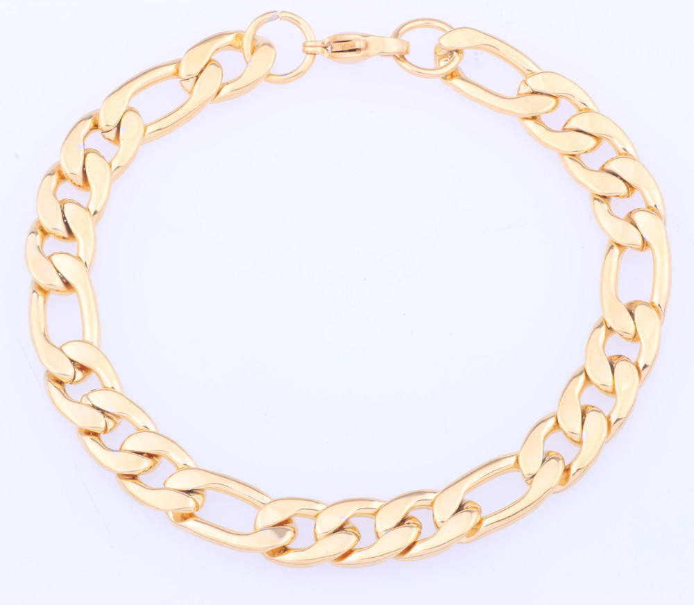 Stainless Steel Bracelet Men Jewelry Link Cuban Chain 2015 yellow gold Stainless Steel Bracelet for men and women