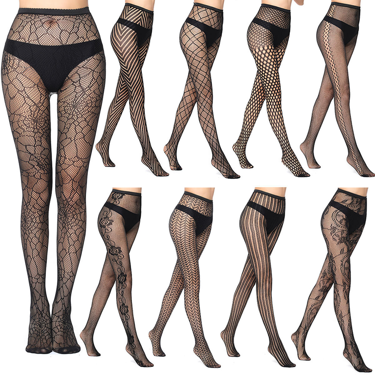 Summer Accessory Japan Beautiful Tights Gilr Sexy Jacquard Spider Stockings Women Fishnet Pantyhose
