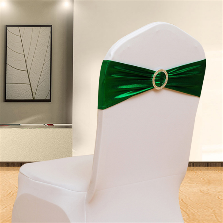 Metallic Gold Spandex Chair Bands With Buckle/ lycra Chair Cover Sash
