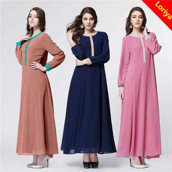 New design OEM xl long maxi Abaya muslimah jubah dress 3 colors MS036