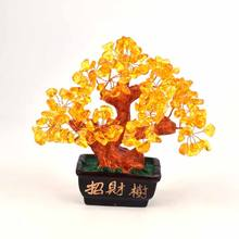 Wholesale Natural Quality Topaz Crystal Lucky Tree To Bring Wealth To the Home Decoration Collection And Gifts