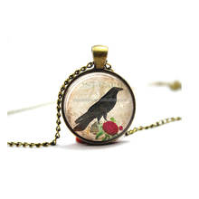 Raven and Rose Pendant Raven Jewelry Bird Jewelry Glass Photo Cabochon Necklace