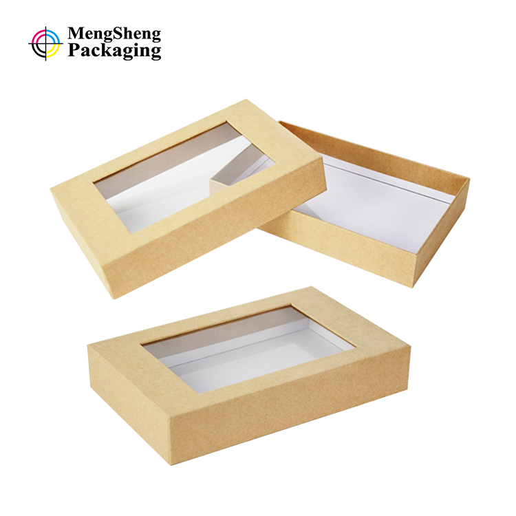 Custom open display packaging boxes cardboard bakery cake sweet rose gift box clear windows and bow kraft paper box with window