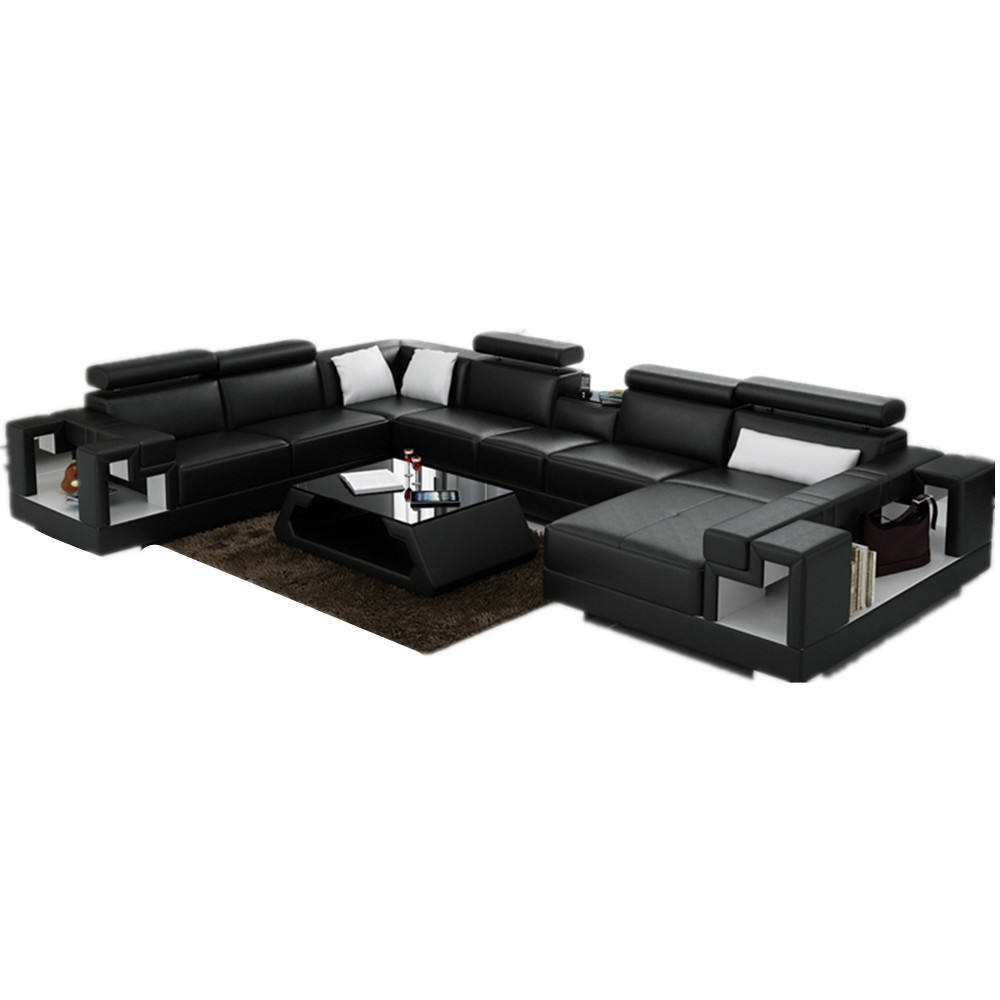 modern design black living room italy leather sofa