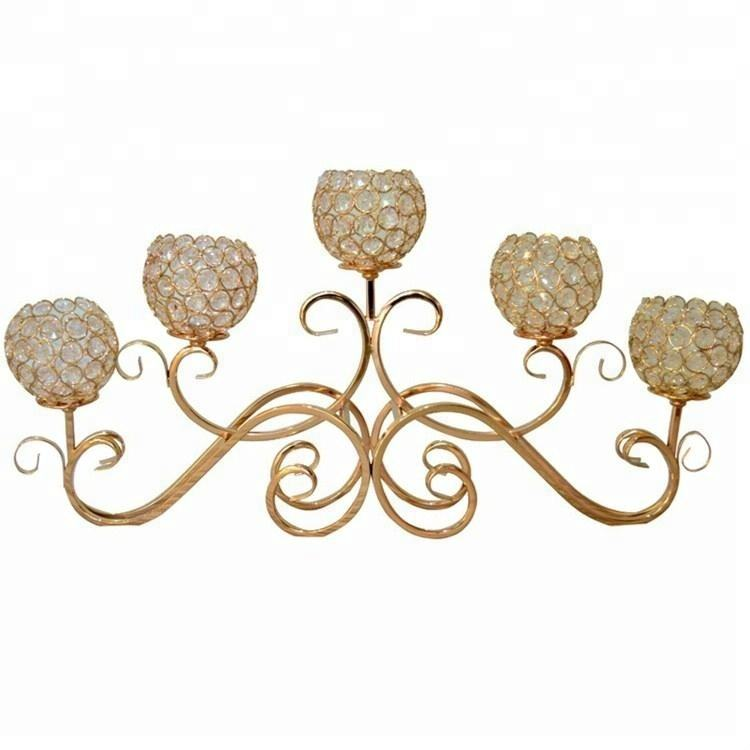 2017 wholesale high quality wrought iron crystal wedding gold candelabra