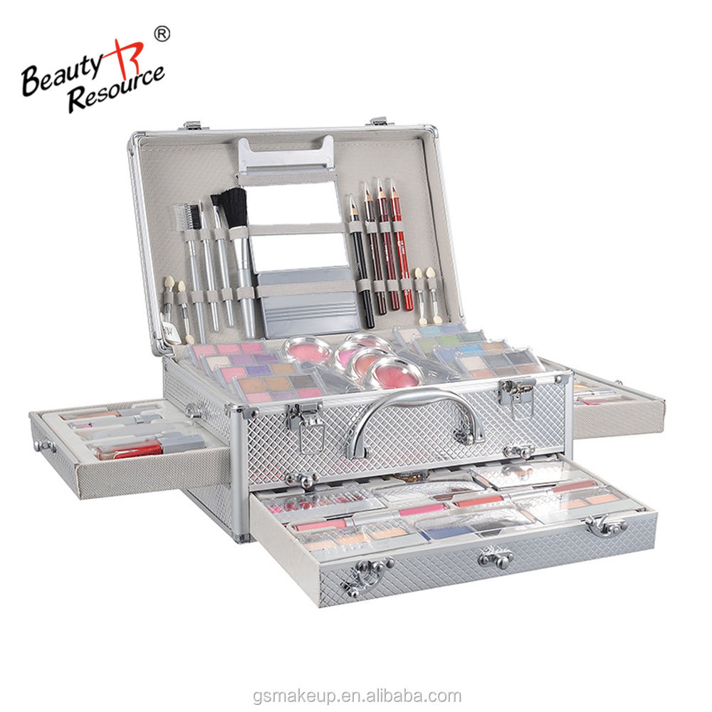 Professional high quality aluminum cosmetic case portable double-open genuine makeup set full portfolio combo box