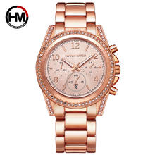 hannah martin Rose Gold Top Luxury Brand Women Rhinestone Watches Montre Femme Calendar Waterproof Fashion Dress Ladies watch
