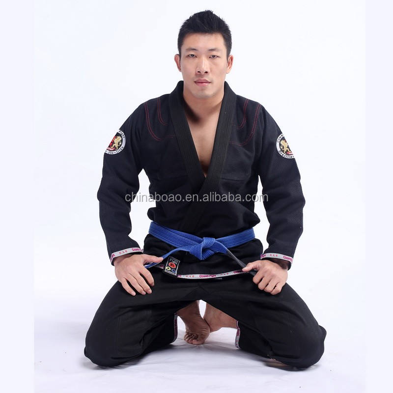 wholesale new design high quality custom made pearl weave fabric patches Blue Men Brazilian Jiu Jitsu Kimono bjj gi