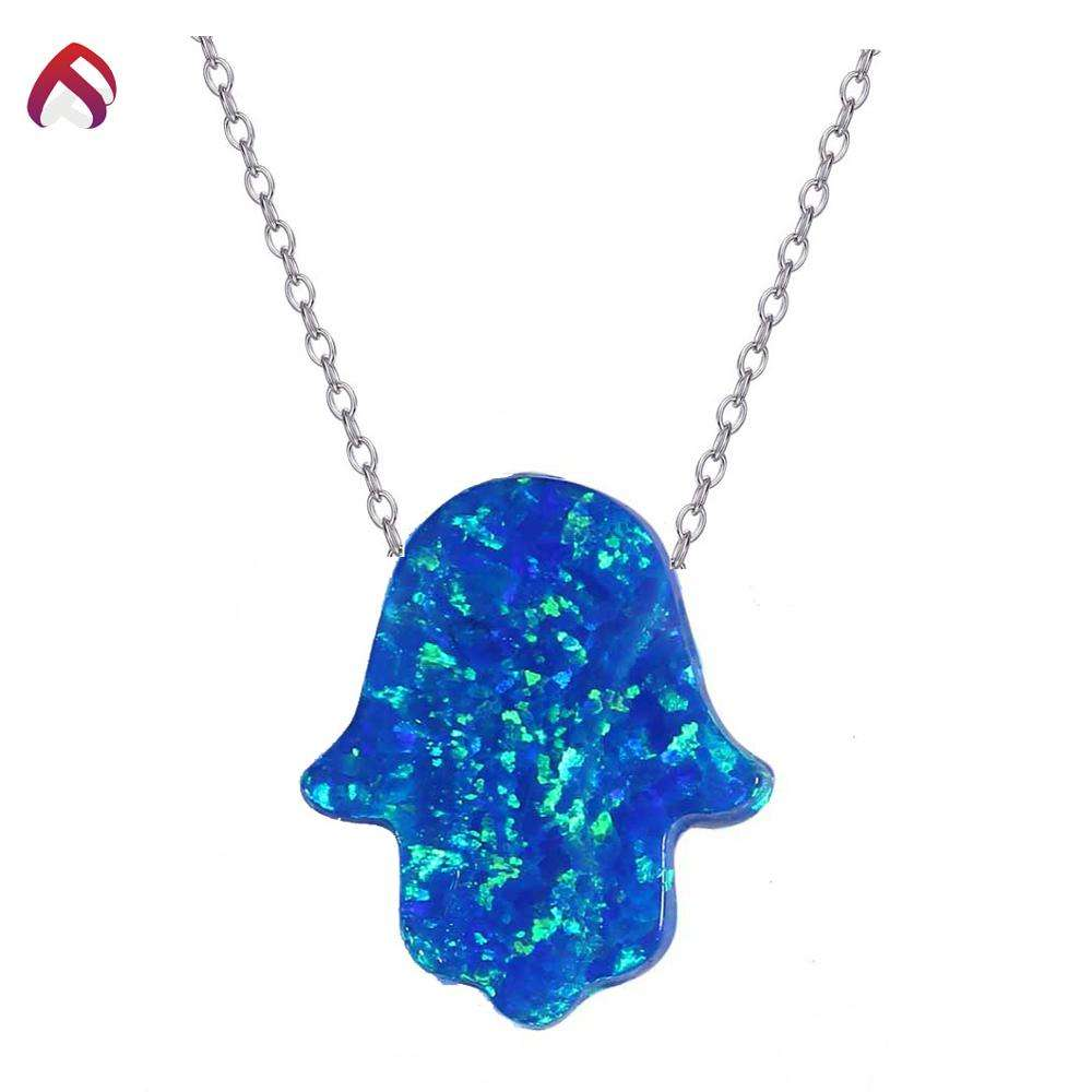Hot selling gemstones created opal synthetic kyocera ocean blue hamsa opal wholesaler with good price