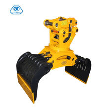 Sorting and rotating demolition grapple for excavator attachment