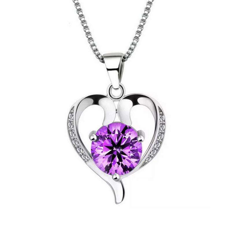 925 silver heart pendant necklace purple & white CZ jewelry for girl