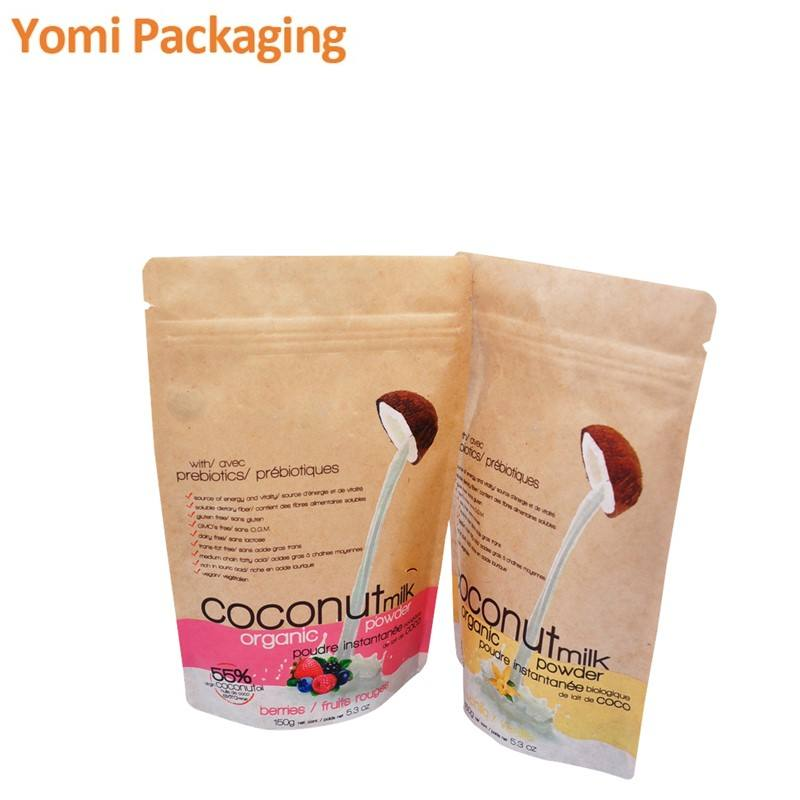 biodegradable Flat Bottom custom printed Packaging Bags with ziplock for coconut , chocolate , whey protein