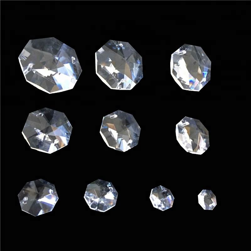 Wholesalers Beads Transparent 10mm-50mm Crystal Octagonal Prisms Glass Beads Hanging Chandelier Parts For Jewelry Making Lampwor