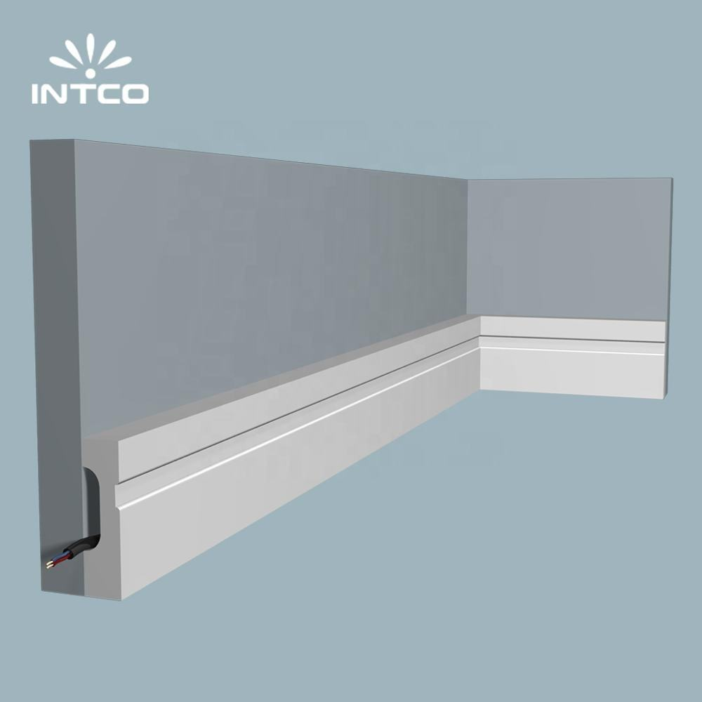 INTCO Wholesale 10cm Quick Install Waterproof Home Accessories Decoration PS Plastic Base Moulding bed base board 3D wood panel