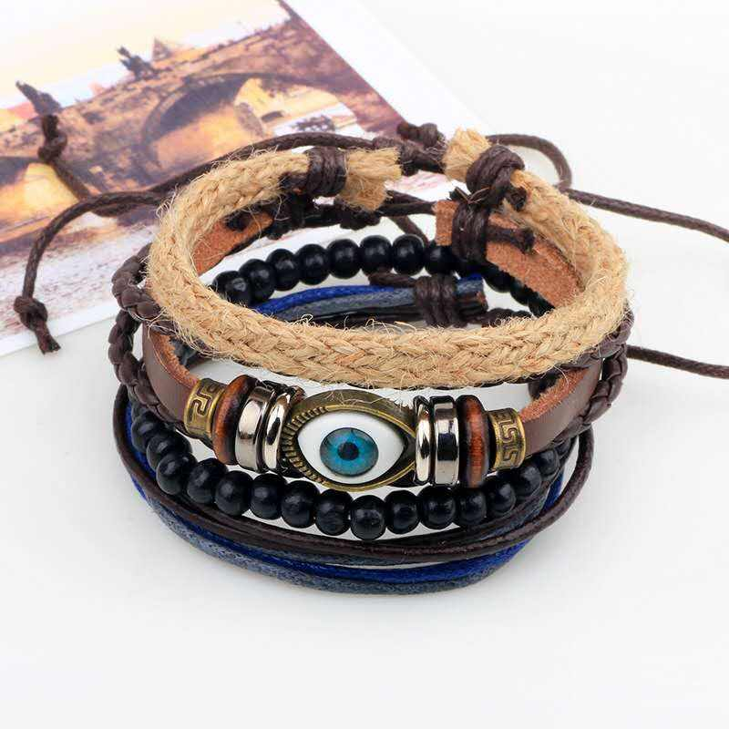 High-quality fashion OL hemp rope wood bead DIY Stretch Bracelet