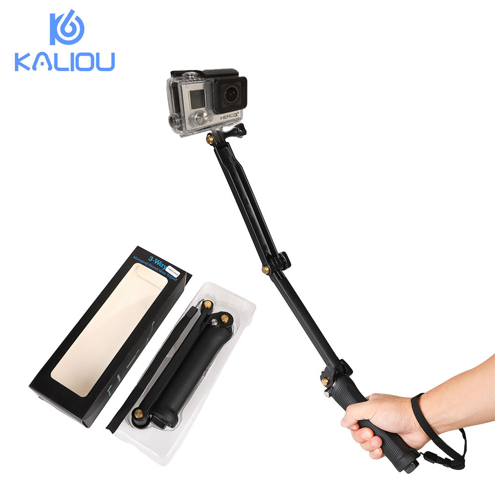 Kaliou 3 Way monopod Adjustment Handheld Selfie Stick Tripod Action Camera Adjustable Mount For GoPros 4 3+ 3 flexible tripod