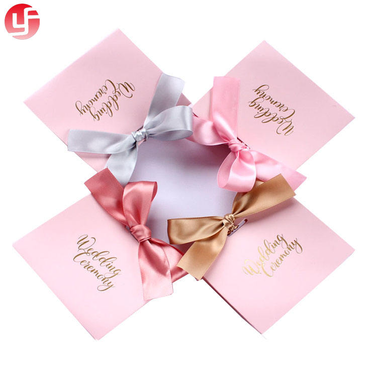 New style sweet indian wedding door gift paper bag pink wedding gift bag with ribbon handle
