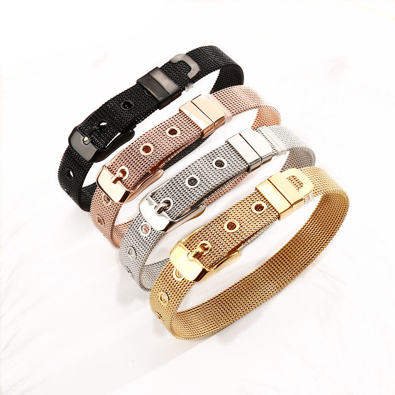 Clip-on Charms making Chain Flat Mesh Bracelet for Women