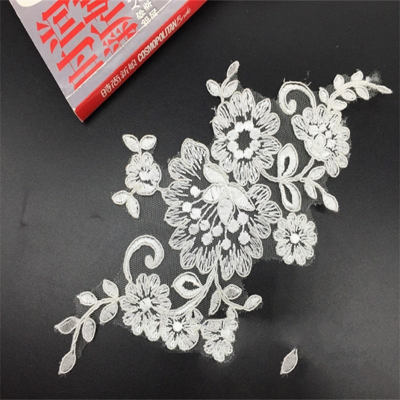 New to unique corded lace applique flower floral cordeds flowers Bridal veil with appliques Headwear DIY for wedding party dress