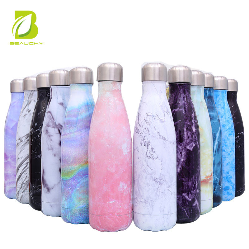 500ml marble design stainless steel water bottle for cold water