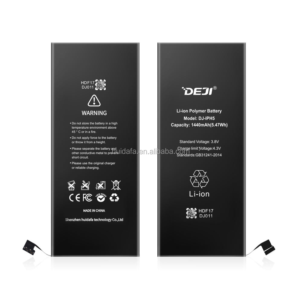best selling products CE FCC ROHS PSE polymer battery for phone 5 battery DEJI brand