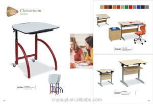 Hot Wooden school furniture study single classroom desk and chair by size 60*45*80cm