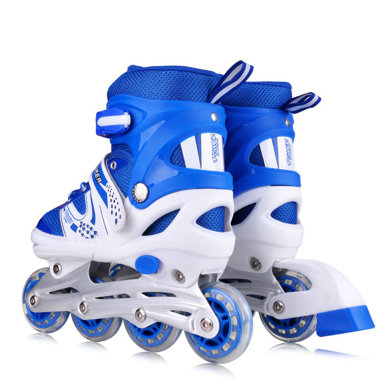 Cute adjustable kids beginner light-up wheels inline roller skates pink blue vamp