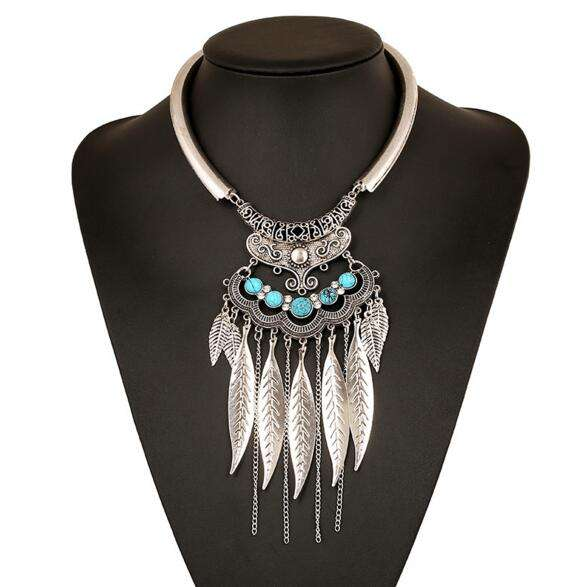 ZQ043 Silver Gold Metal Leaves Tassel Collar Necklaces Jewelry Big Leaves Statement Necklaces Women