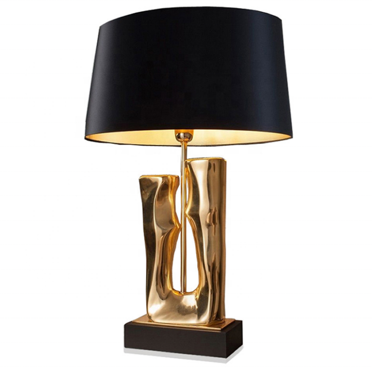 modern fancy portable luminaire desk lighting indoor bedroom black fabric shade metal stand art deco table lamp