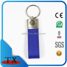 embossed blue leather car keychain